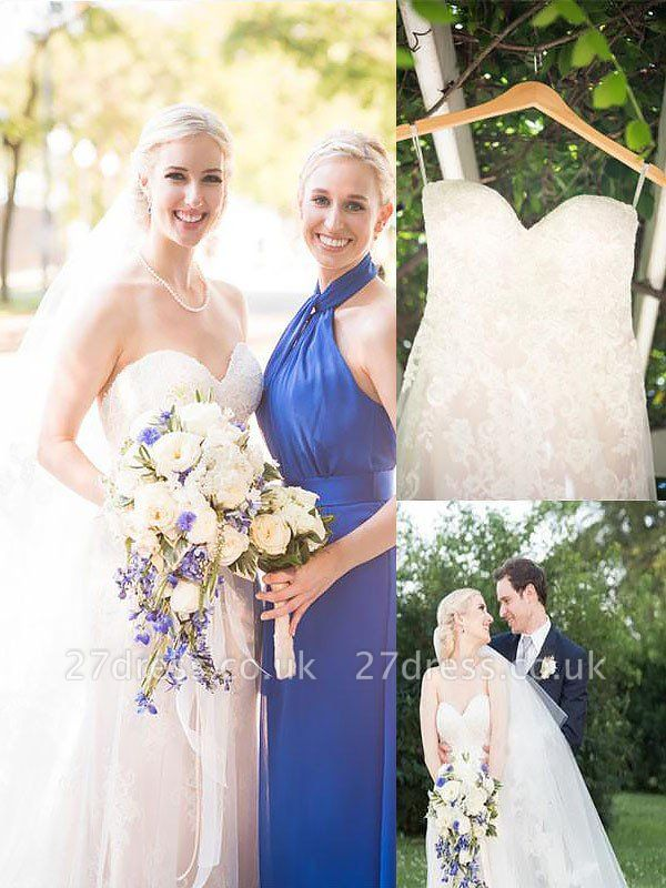 Sweep Train Sleeveless A-Line Tulle Cheap Sweetheart Wedding Dresses UK