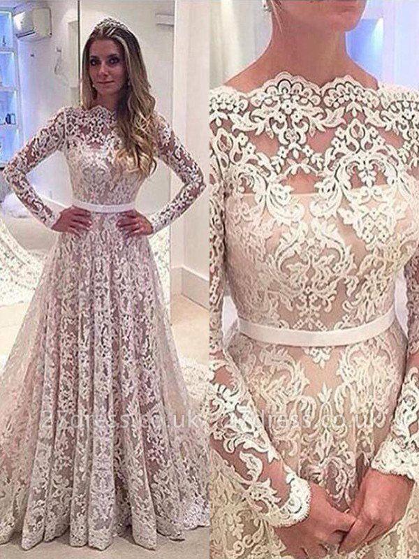 Long Sleeves Court Train A-Line Lace Bateau Wedding Dresses UK