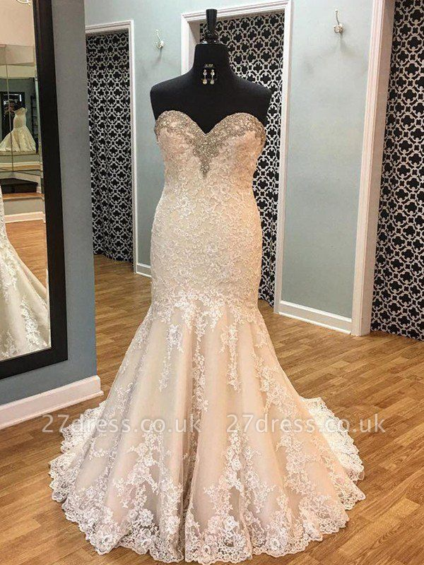 Court Train Tulle Cheap  Sexy Mermaid Sleeveless Applique Sweetheart Wedding Dresses UK