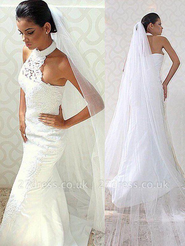 Sweep Train Sleeveless Sexy Mermaid Satin Halter Wedding Dresses UK