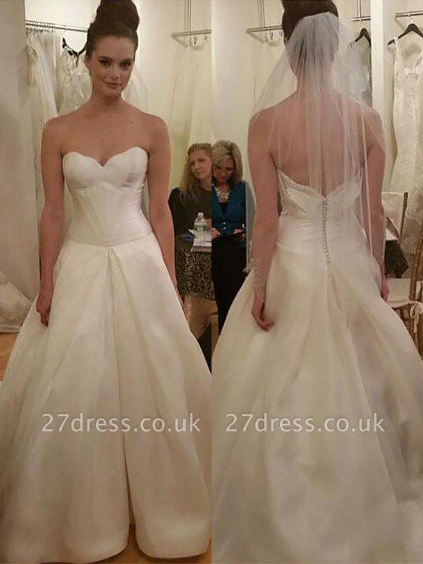 Sleeveless Court Train Ball Gown Sweetheart Taffeta Wedding Dresses UK
