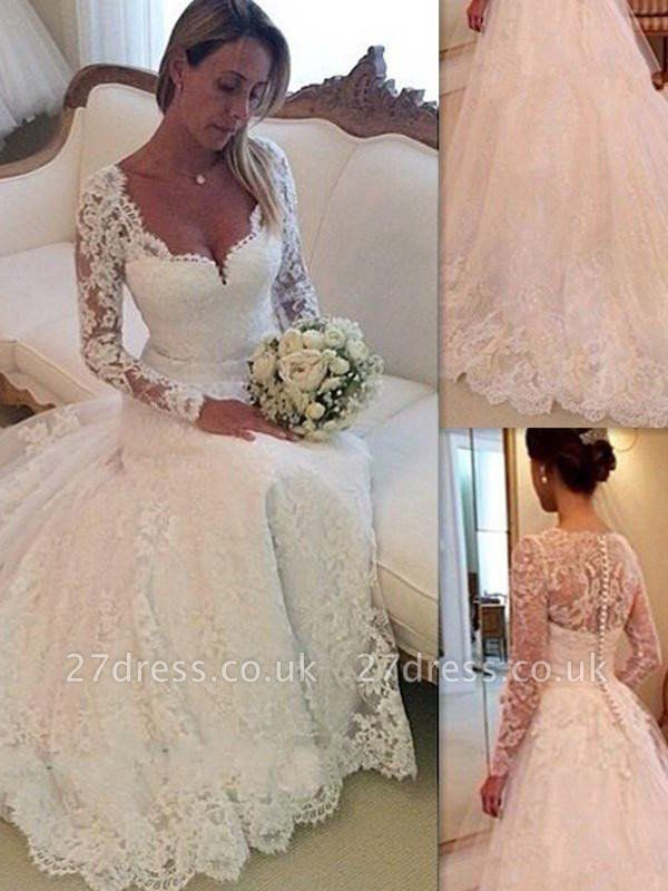 Tulle Cheap V-neck Ball Gown Long Sleeves Court Train Lace Wedding Dresses UK