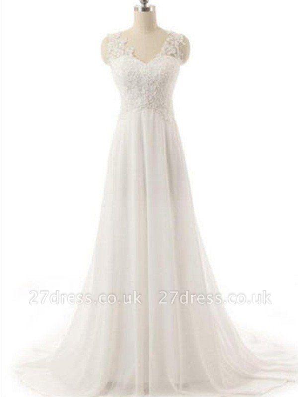 Sweep Train  A-Line Lace  V-Neck Sleeveless Wedding Dresses UK