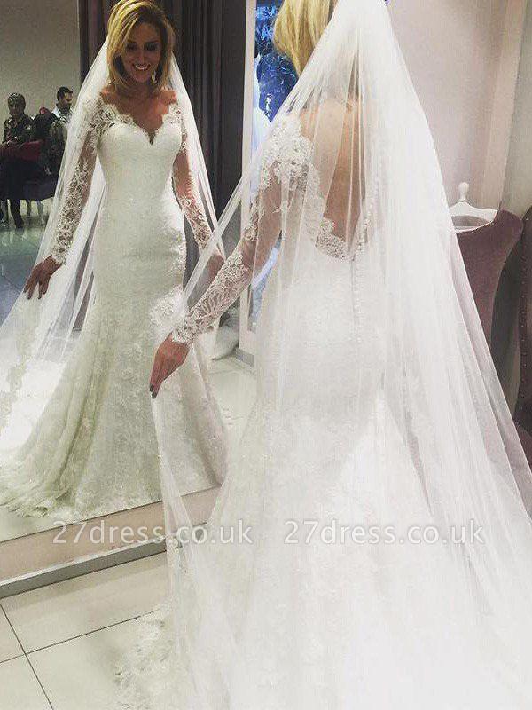 Long Sleeves Lace Sheath Sweep Train  V-Neck Wedding Dresses UK