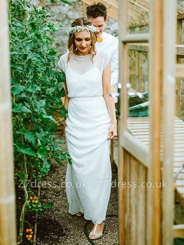 Scoop Neckline Floor-Length Sheath Ruffles  Short Sleeves Wedding Dresses UK
