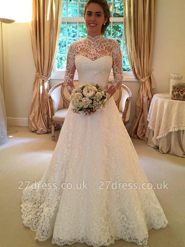 Lace High Neck Court Train Ball Gown Long Sleeves Wedding Dresses UK