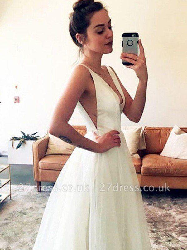 Sleeveless A-Line  V-Neck Ruched Tulle Sweep Train Wedding Dresses UK