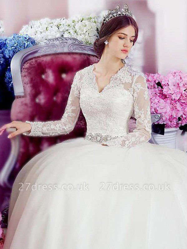 Cathedral Train Applique A-Line  V-Neck Lace Tulle Long Sleeves Wedding Dresses UK