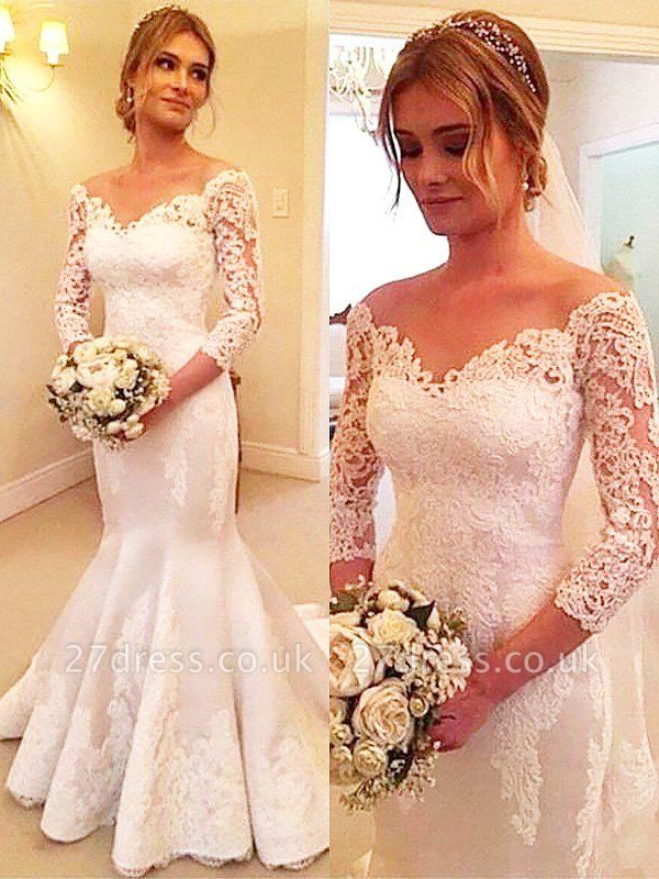 3/4 Sleeves  Sexy Mermaid Court Train Off-the-Shoulder Satin Lace Wedding Dresses UK