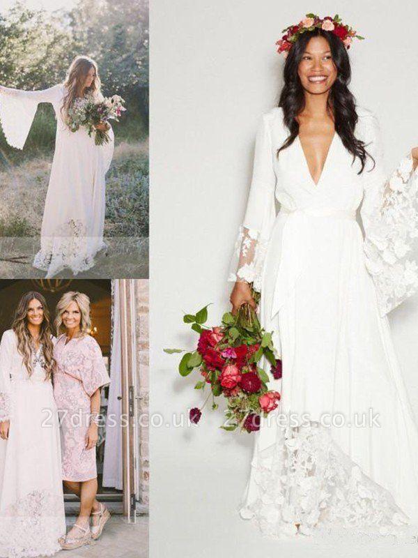Floor-Length Lace A-Line Ribbon  V-Neck  Long Sleeves Wedding Dresses UK