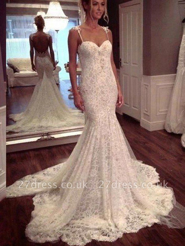 Court Train Lace Spaghetti Straps Sleeveless  Sexy Mermaid Wedding Dresses UK