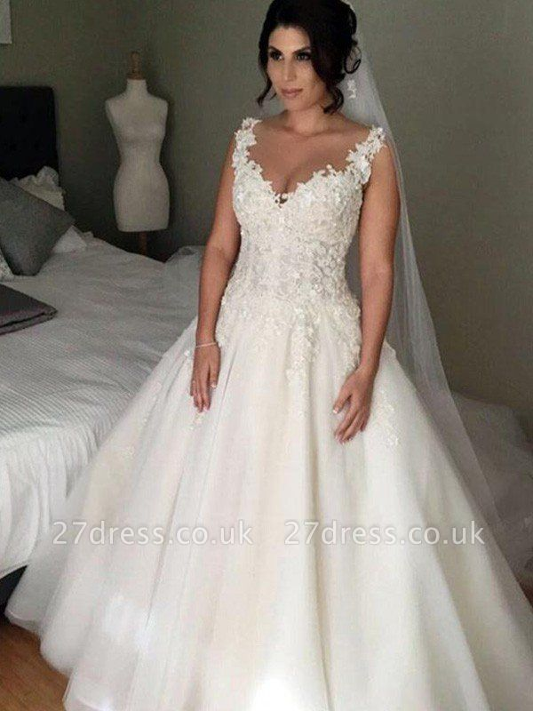 V-Neck Ball Gown Tulle Sleeveless Applique Lace Court Train Wedding Dresses UK
