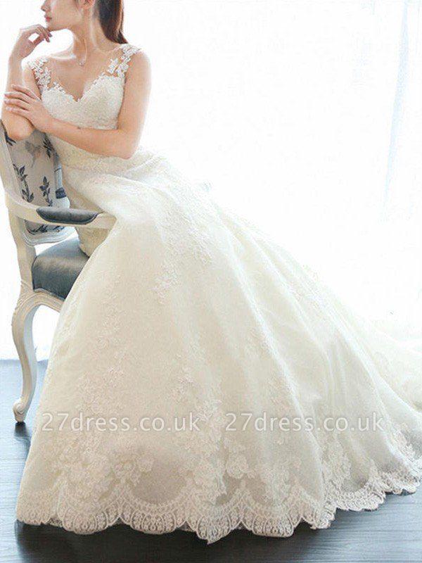 Court Train A-Line Lace  V-Neck Applique Sleeveless Wedding Dresses UK