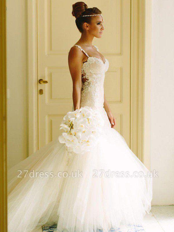 Court Train Applique Lace Sexy Mermaid Spaghetti Straps Tulle Sleeveless Sweetheart Wedding Dresses UK