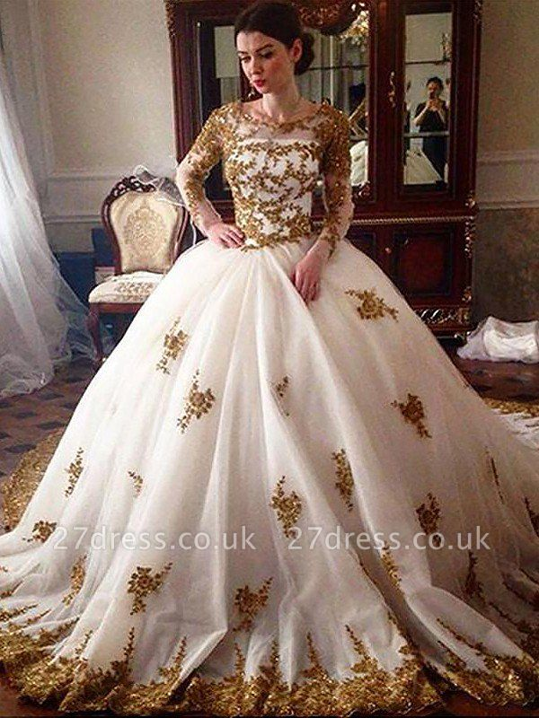 Scoop Neckline Tulle Cheap Ball Gown Long Sleeves Court Train Wedding Dresses UK