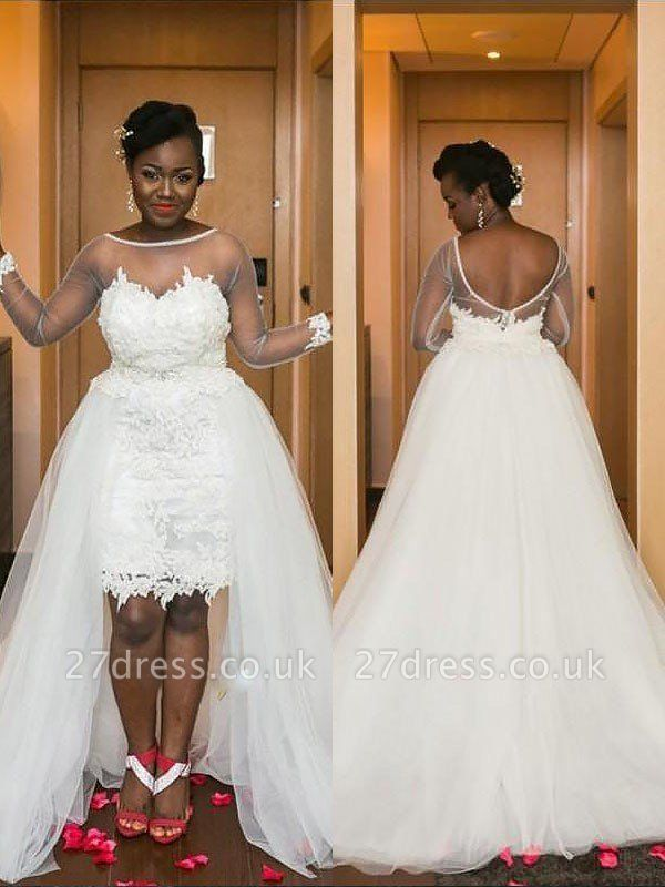 Court Train Long Sleeves A-Line Tulle Scoop Neckline Wedding Dresses UK