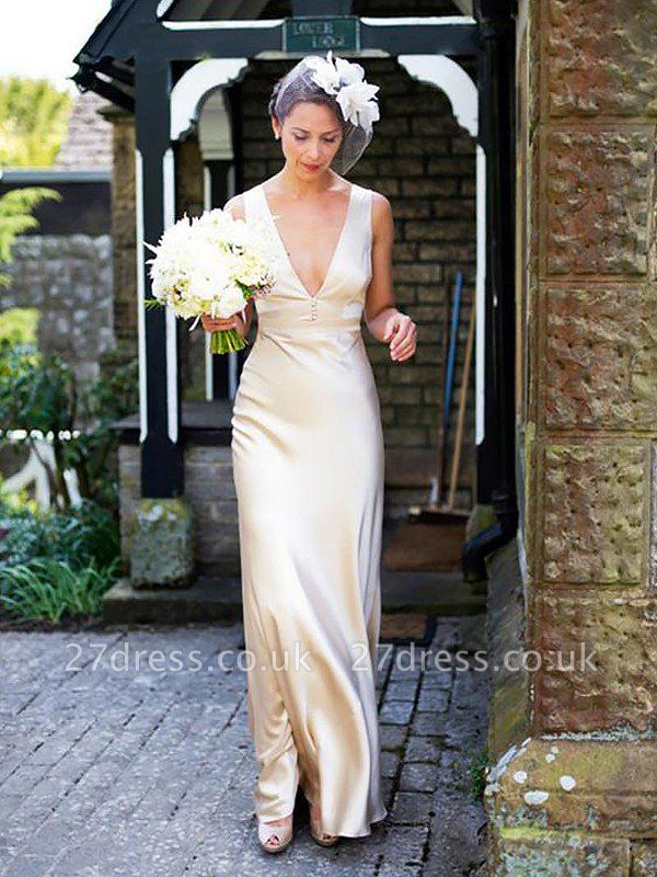 Sleeveless Sweep Train Sheath  V-Neck Satin Wedding Dresses UK