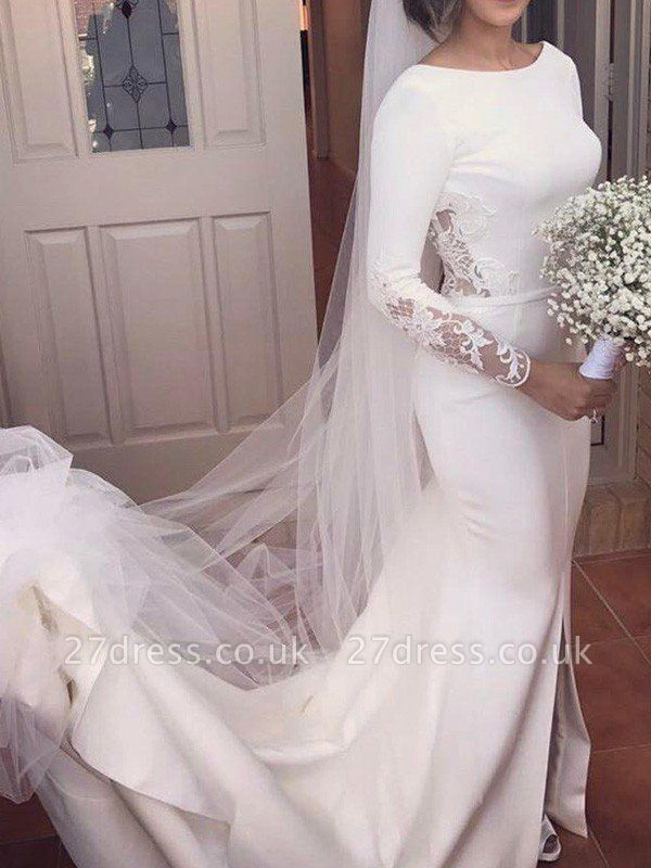 Lace Satin Long Sleeves Sexy Mermaid Scoop Neckline Court Train Wedding Dresses UK