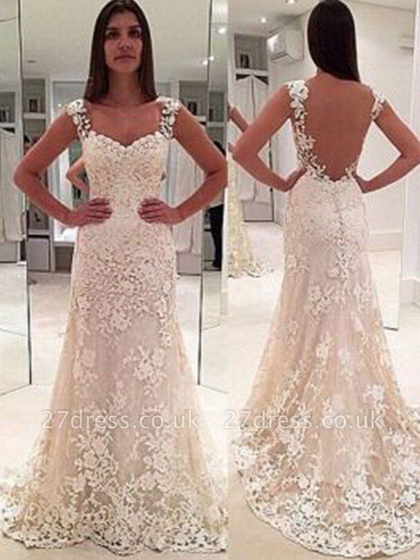 Sleeveless Sweetheart Applique Lace Sheath Straps Court Train Wedding Dresses UK