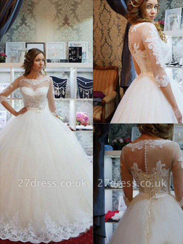 Floor-Length Scoop Neckline Ball Gown 1/2 Sleeves Tulle Applique Wedding Dresses UK