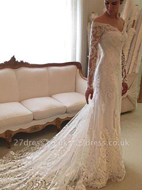 Off-the-Shoulder Court Train Sheath Lace Long Sleeves Wedding Dresses UK
