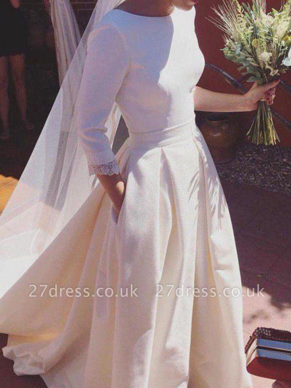 Sweep Train Ruffles A-Line Scoop Neckline Satin 3/4 Sleeves Wedding Dresses UK