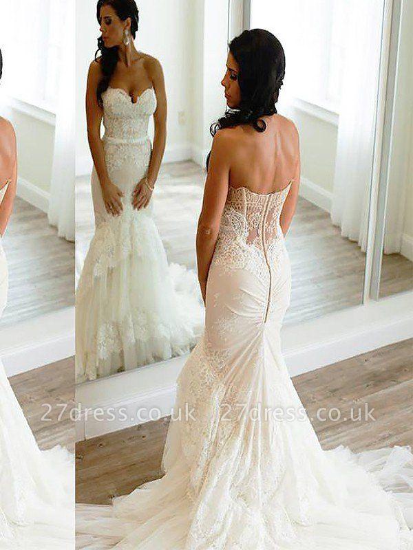 Court Train Sleeveless Sexy Mermaid Lace Tulle Sweetheart Wedding Dresses UK