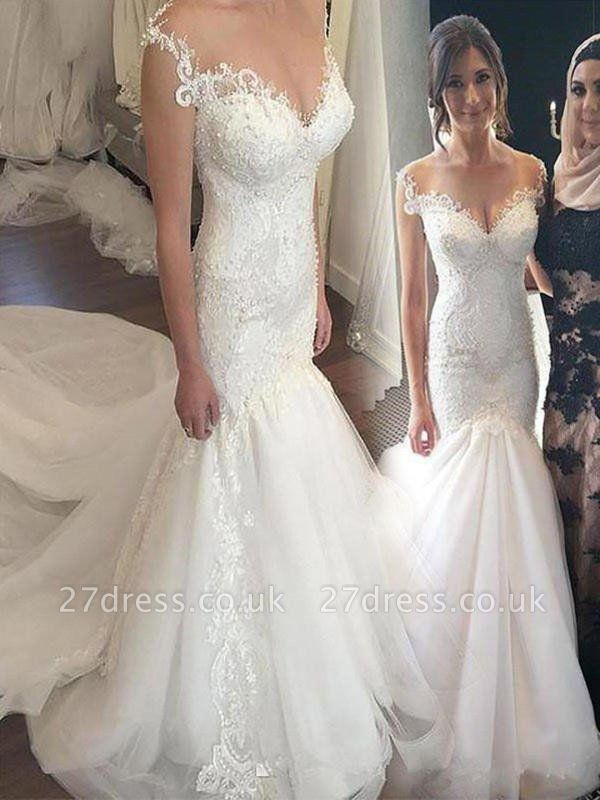 Applique  Sexy Mermaid Off-the-Shoulder Sleeveless Tulle Cheap Wedding Dresses UK