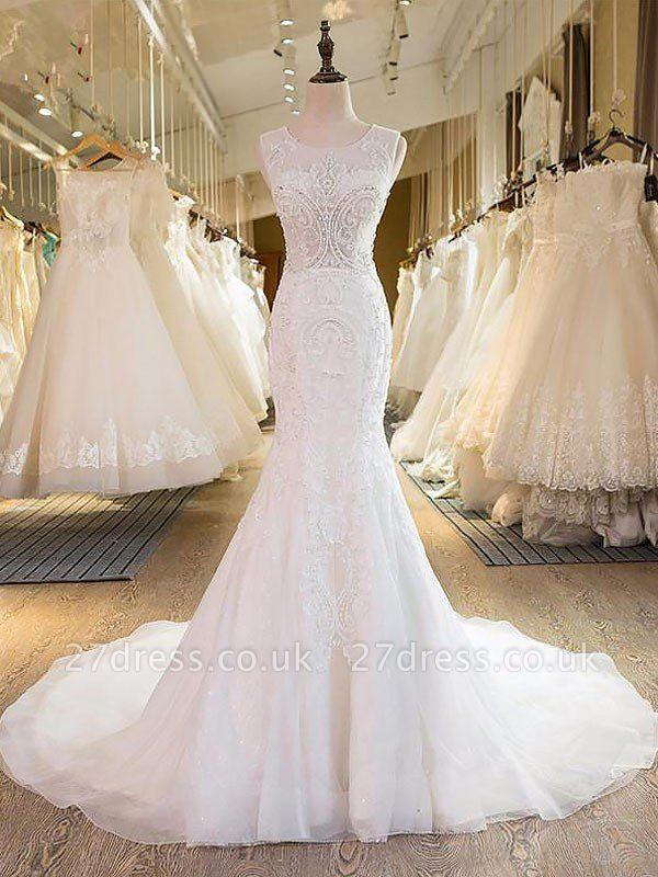 Tulle Cheap Sweep Train  Sexy Mermaid Sleeveless Scoop Neckline Wedding Dresses UK