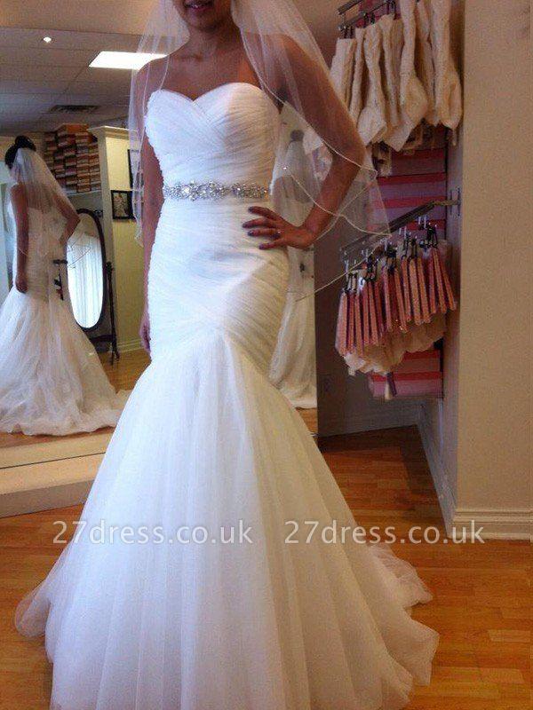 Sexy Mermaid Tulle Cheap Floor-Length Beads Sleeveless Sweetheart Wedding Dresses UK