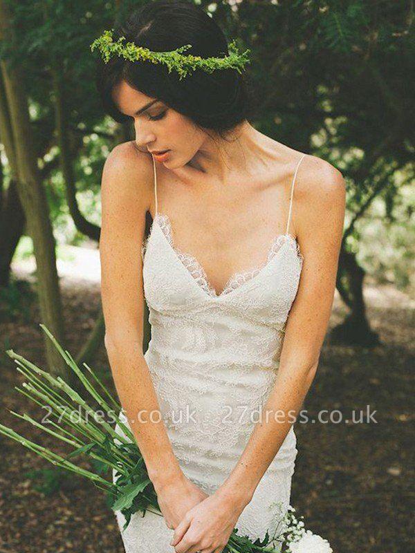 Sexy Mermaid Ruffles Lace Spaghetti Straps Sweep Train Sleeveless Wedding Dresses UK