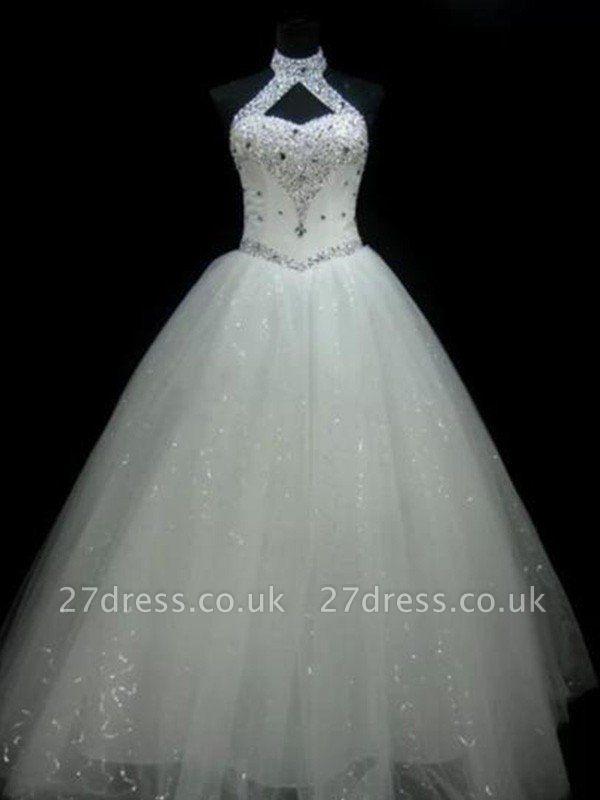 Sequin Ball Gown Sleeveless Floor-Length Beads Tulle Cheap Halter Wedding Dresses UK