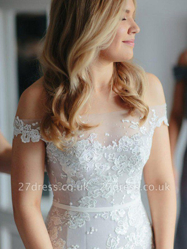 Applique  Sexy Mermaid Off-the-Shoulder Lace Tulle Cheap Court Train Sleeveless Wedding Dresses UK