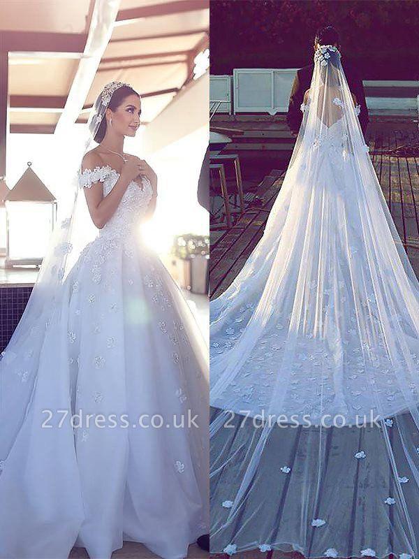 V-neck  Ball Gown Sleeveless Satin Wedding Dresses UK
