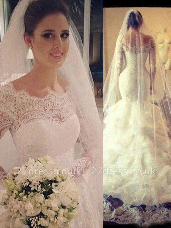 Scoop Neckline Sexy Mermaid Court Train Tulle Long Sleeves Lace Wedding Dresses UK