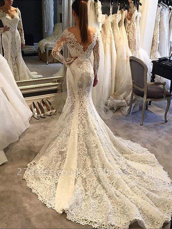 Long Sleeves Lace  Sexy Mermaid Court Train V-neck Wedding Dresses UK