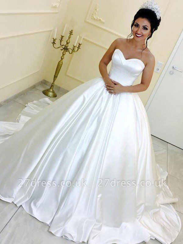 Cathedral Train Ball Gown Sleeveless Satin Ribbon Sweetheart Wedding Dresses UK