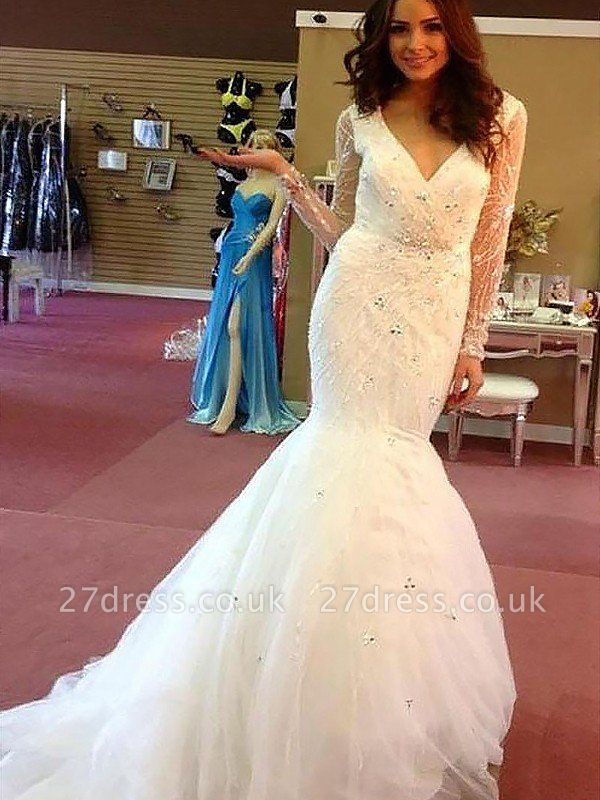 Long Sleeves V-neck  Sexy Mermaid Court Train Beads Tulle Cheap Wedding Dresses UK