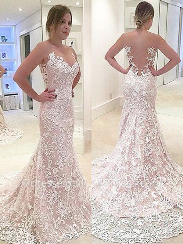 Sleeveless Sweep Train Sexy Mermaid Sweetheart Lace Wedding Dresses UK