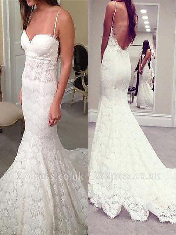 Court Train Sleeveless Sexy Mermaid Lace Spaghetti Straps Wedding Dresses UK