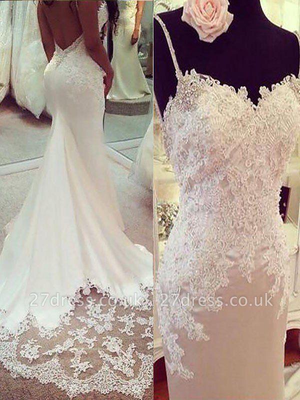 Sexy Mermaid Spaghetti Straps Applique Satin Court Train Sleeveless Wedding Dresses UK