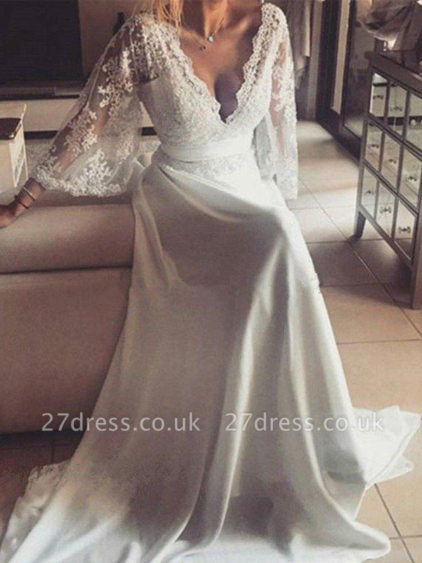 Ribbon Court Train A-Line Long Sleeves  V-Neck Lace Wedding Dresses UK