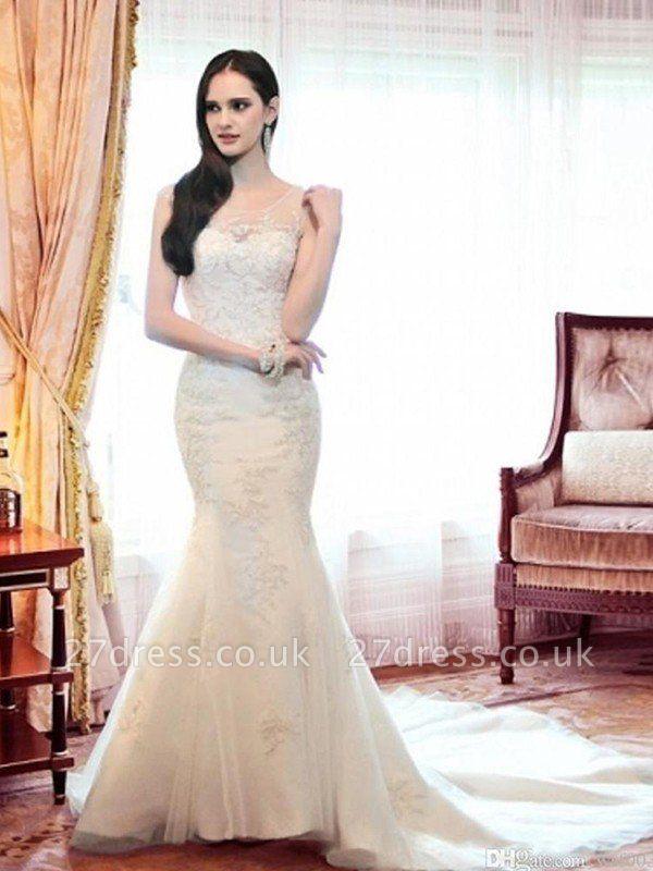 Court Train  Sexy Mermaid Beads Organza Scoop Neckline Sleeveless Wedding Dresses UK
