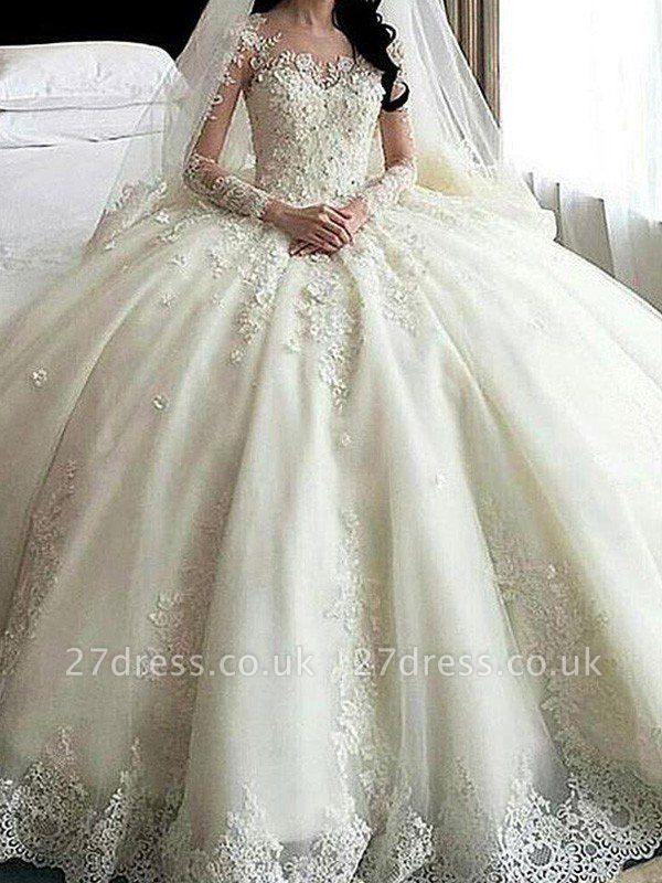 Applique Long Sleeves Ball Gown Cathedral Train Lace Tulle Cheap Scoop Neckline Wedding Dresses UK