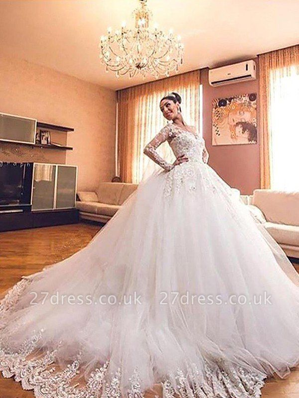 Ball Gown V-neck Long Sleeves Tulle Cheap Court Train Wedding Dresses UK