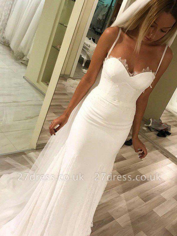 Sweetheart Sheath Sweep Train Satin Spaghetti Straps Sleeveless Wedding Dresses UK