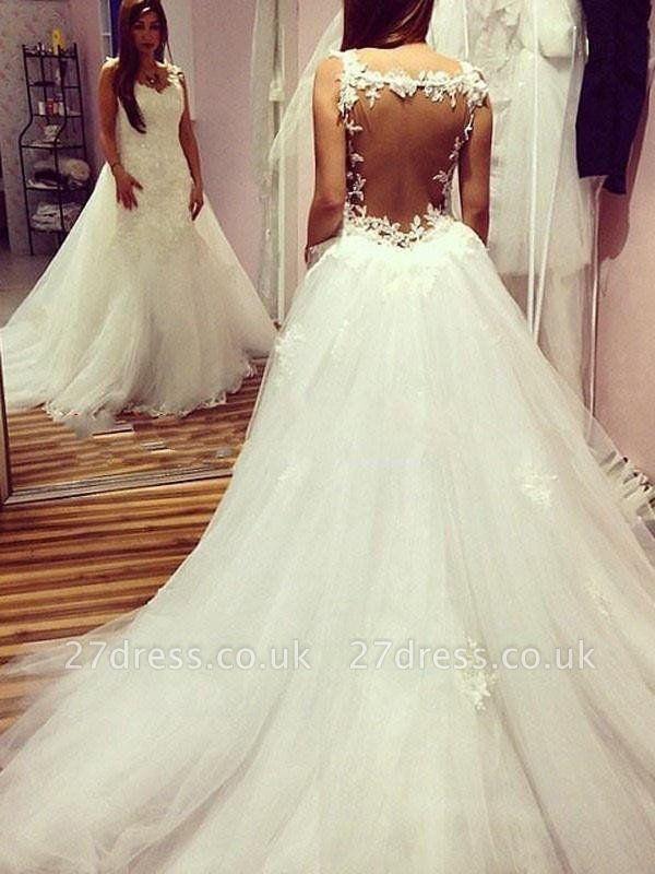 Ball Gown Tulle Cheap Sleeveless Applique Sweetheart Wedding Dresses UK
