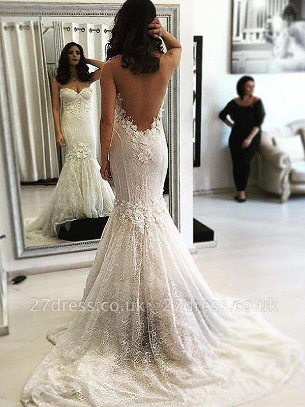 Sweep Train Sleeveless Sexy Mermaid Lace Sweetheart Wedding Dresses UK