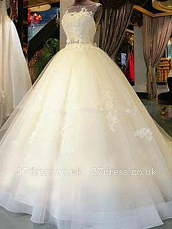 Sleeveless Ribbon Scoop Neckline Applique Tulle Cheap Ball Gown Cathedral Train Wedding Dresses UK