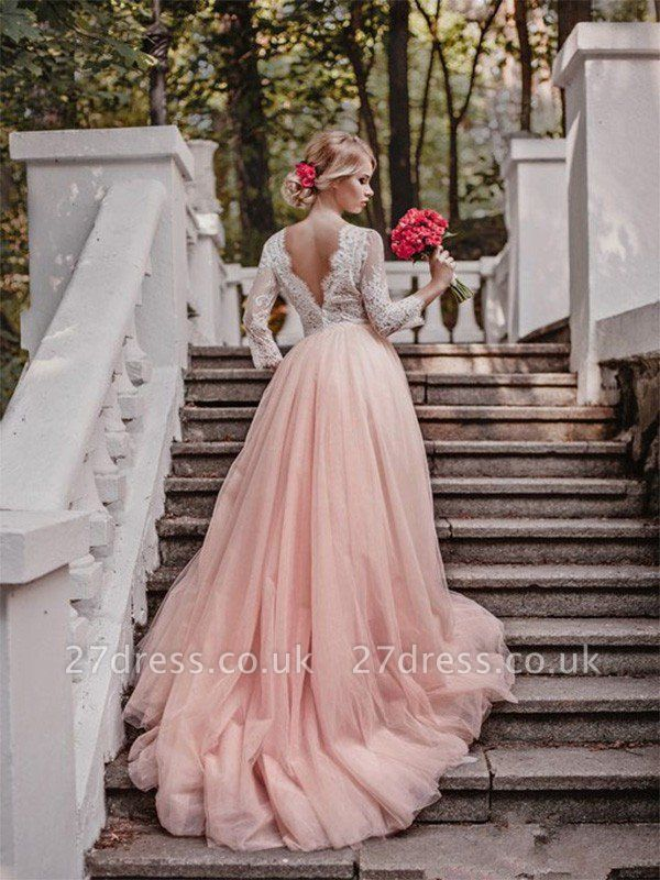 V-neck Court Train Applique Tulle Cheap Ball Gown Long Sleeves Wedding Dresses UK